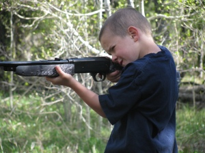 Dillan with his new BB gun - Don't shoot your eye out!