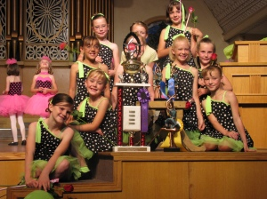 Hayley's Team and their dance competition trophys
